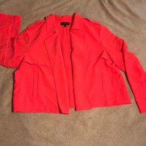 Lane Bryant Summer orange flowing blazer.